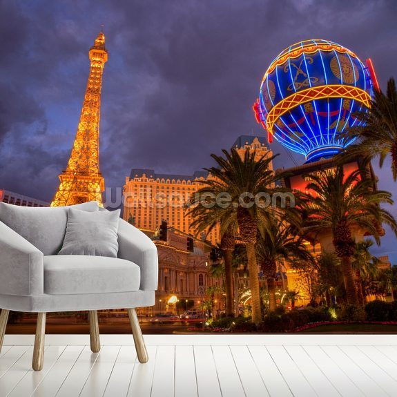 Las Vegas Strip by Night mural wallpaper room setting