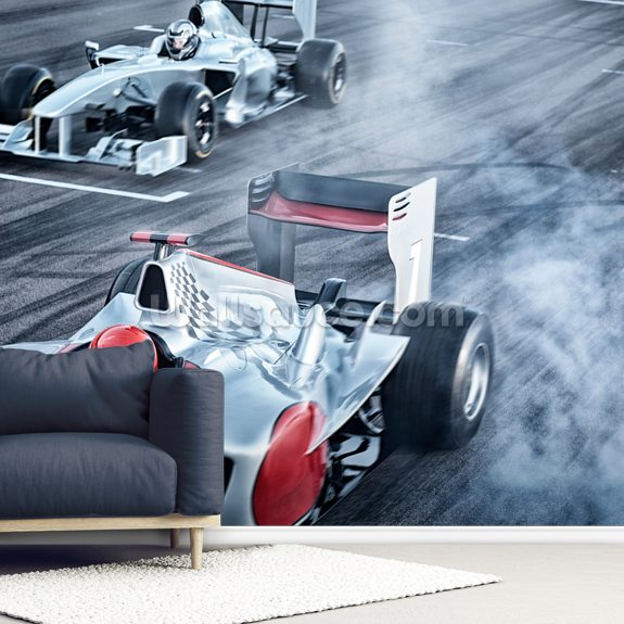Racing Cars Head to Head mural wallpaper room setting