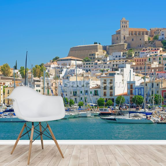 Ibiza Harbour mural wallpaper room setting