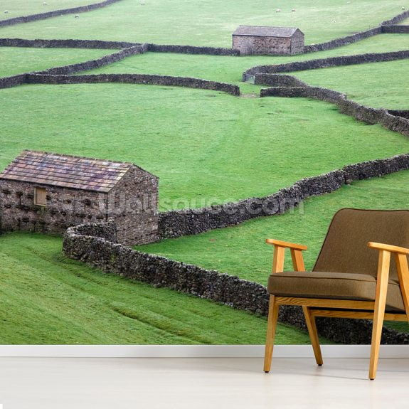 Stone Houses and Stone Walls mural wallpaper room setting