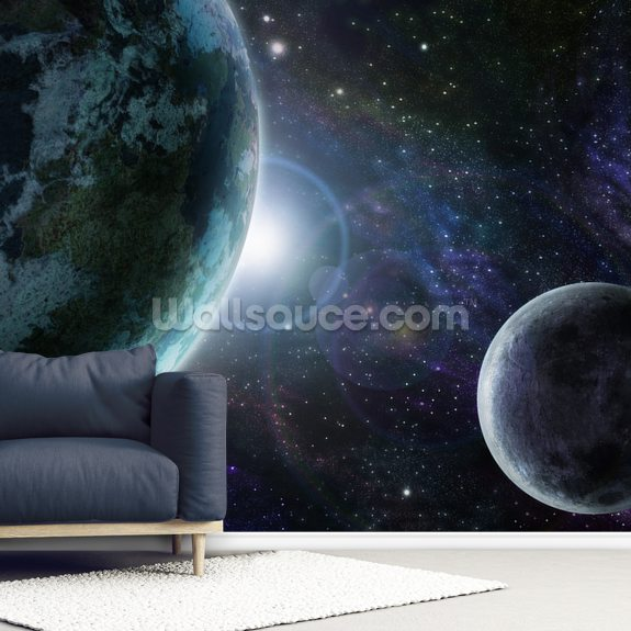 Blue Planet Earth wallpaper mural room setting