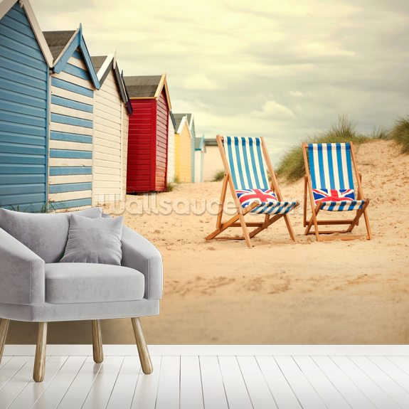 Deck Chairs wallpaper mural room setting