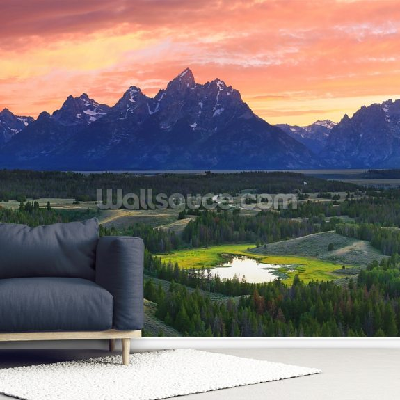 Teton National Park - Wyoming wallpaper mural room setting