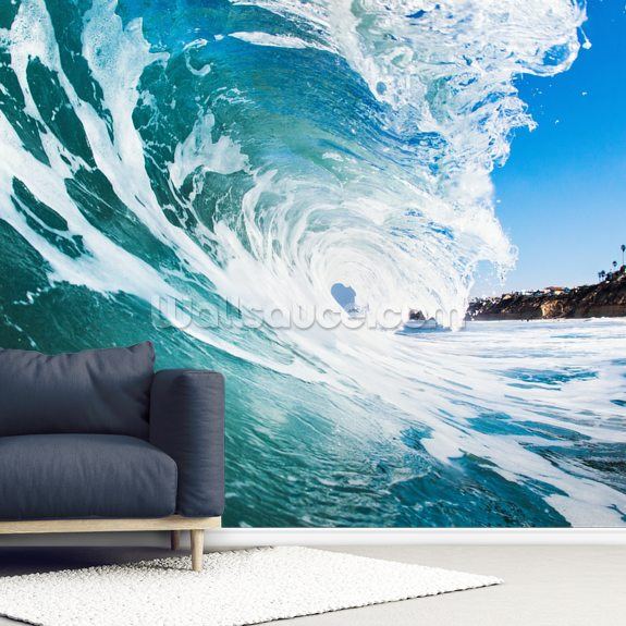 Rolling Waves mural wallpaper room setting