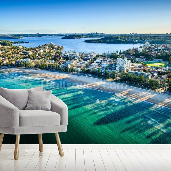 Sydney Bay Cityscape wall mural room setting