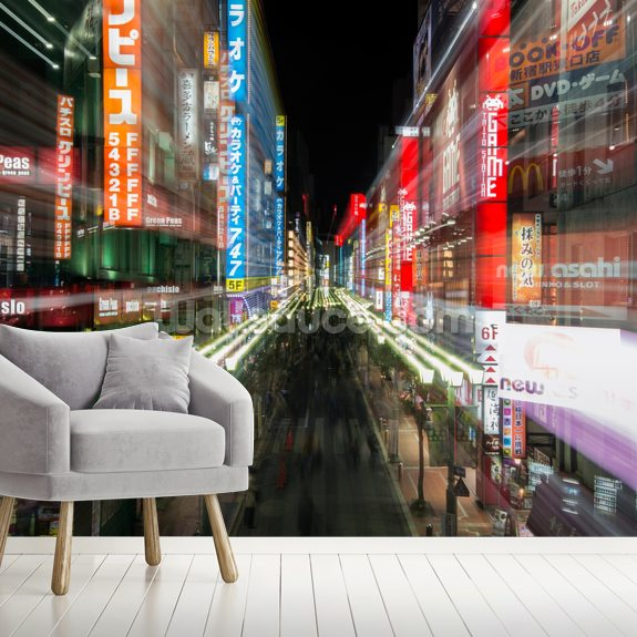 Tokyo City Lights mural wallpaper room setting