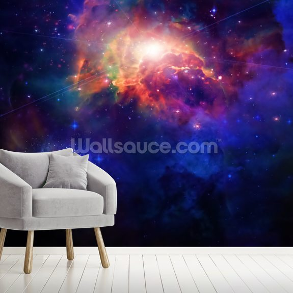 Space wall mural room setting