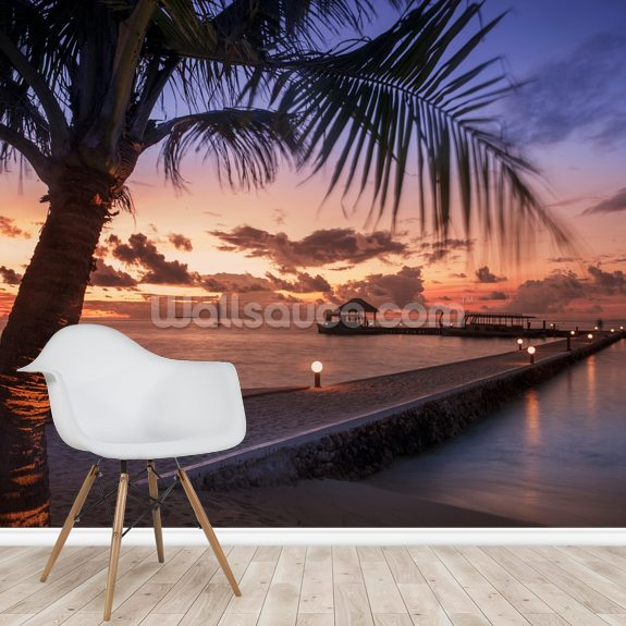Peaceful Maldives Sunset wallpaper mural room setting