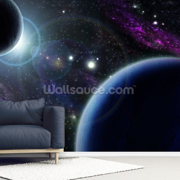 Two Blue Planets wall mural room setting
