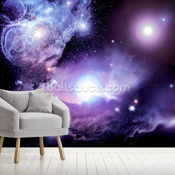 Fantasy Space Nebula wall mural room setting