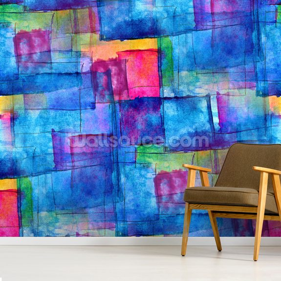 Blue Cubism mural wallpaper room setting