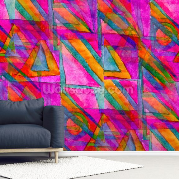 Picasso - Purple Cubism wallpaper mural room setting