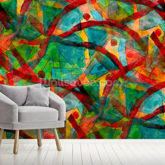 Picasso - Green Red Cubism wall mural room setting