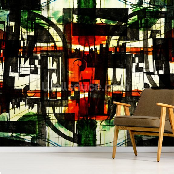 Abstract Red mural wallpaper room setting