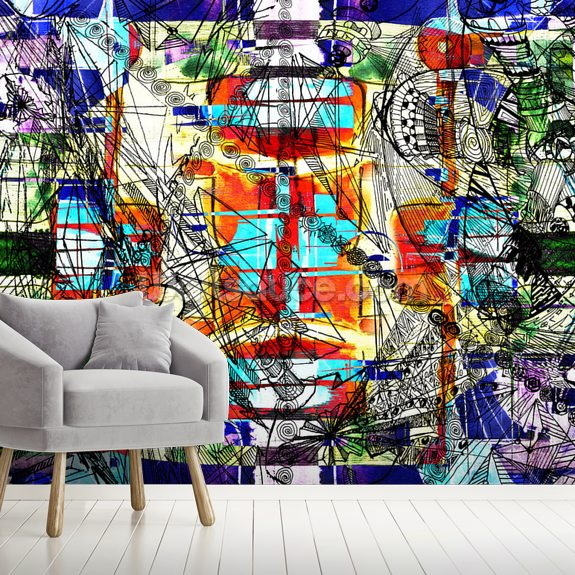 Expressive Colours mural wallpaper room setting