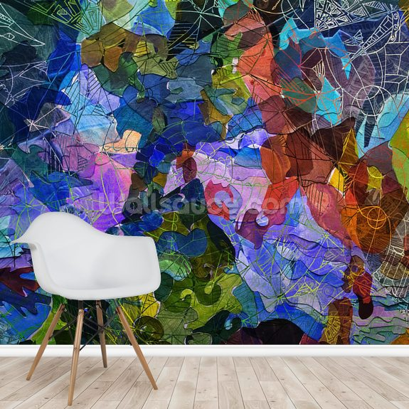 Abstract Blue wallpaper mural room setting