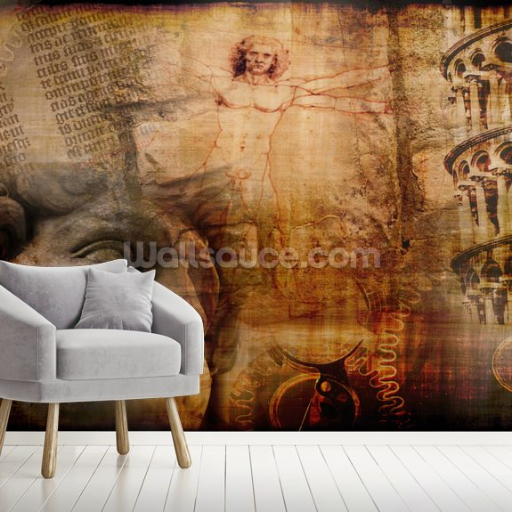 Vitruvian Man, Italian Icons wallpaper mural room setting