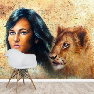 Graffiti - Woman and Lion Cub