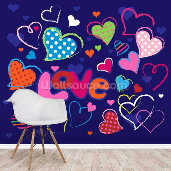 Cute Love Doodles mural wallpaper room setting
