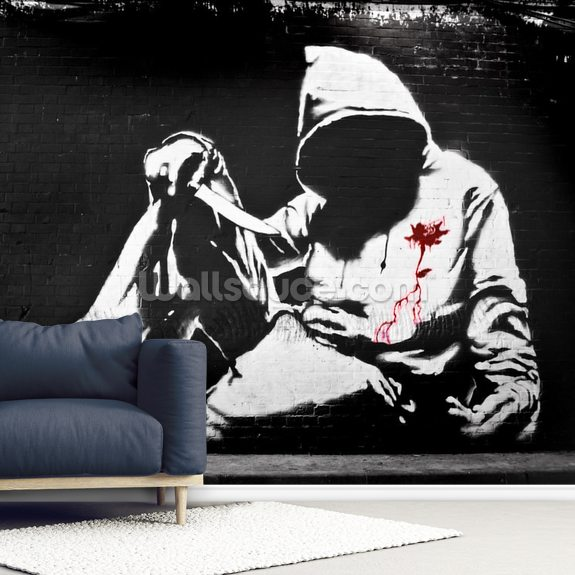 Banksy Hoodie with Knife Graffiti wallpaper mural room setting