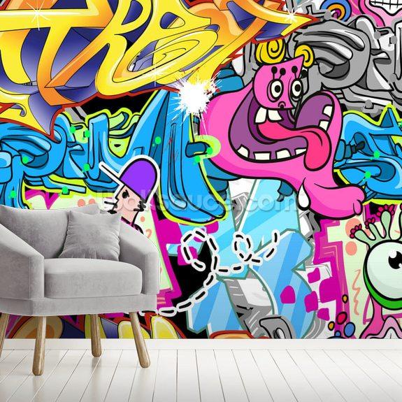 graffiti urban art wallpaper mural wallsauce usgraffiti urban art mural wallpaper room setting
