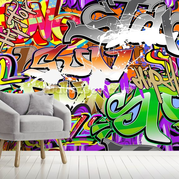 Urban Graffiti Art wall mural room setting