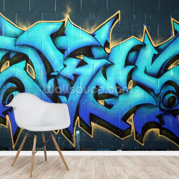 Graffiti mural wallpaper room setting