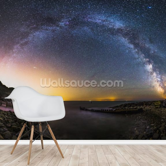 Galactic rainbow mural wallpaper room setting