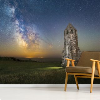 Medieval Lighthouse Next to The Milky Way