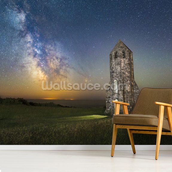 Medieval lighthouse next to The Milky Way wall mural room setting
