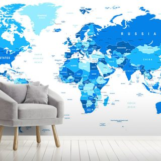 Detailed World Map in Blue