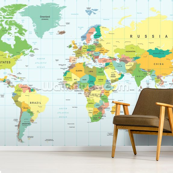 Detailed World Map wall mural room setting