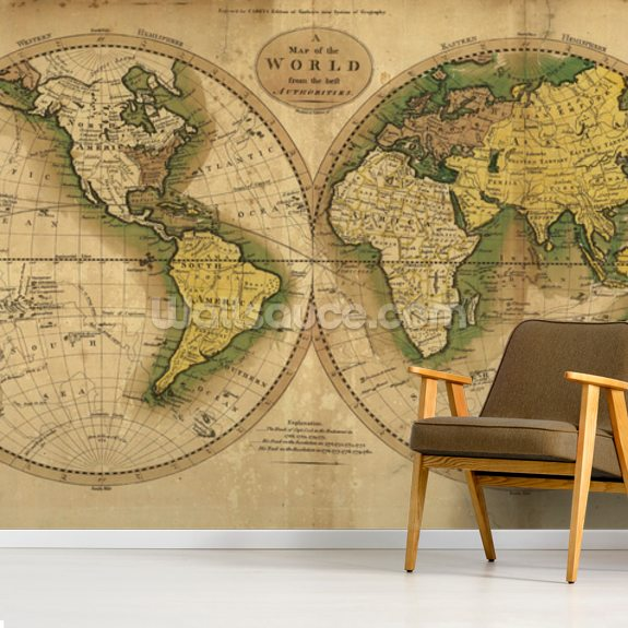 Old Map of the World wallpaper mural room setting