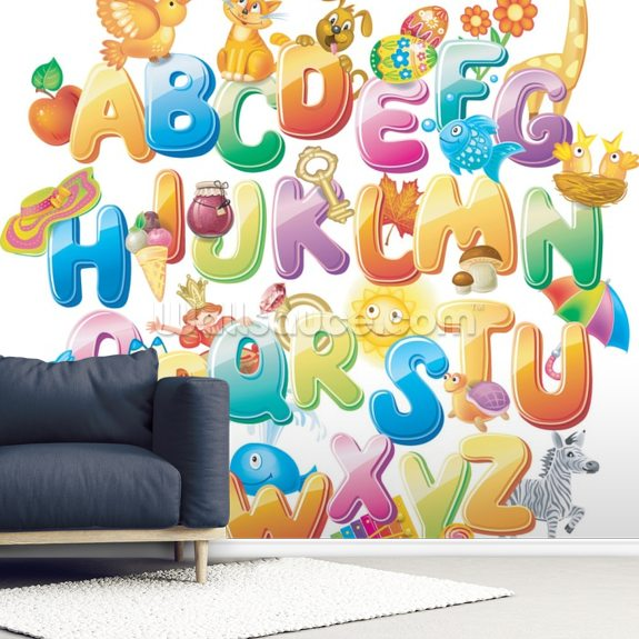 Alphabet For Kids With Pictures Mural Wallpaper Room Setting