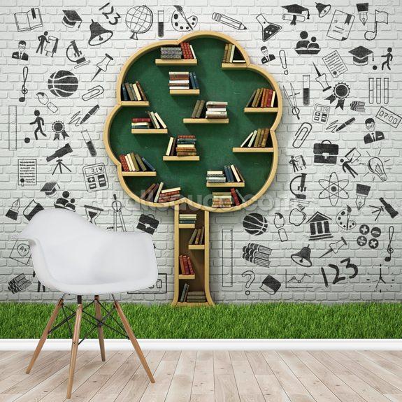 Tree Book Shelf Wallpaper Mural Wallsauce Uk