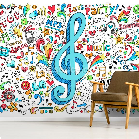 Groovy Music Doodles wall mural room setting