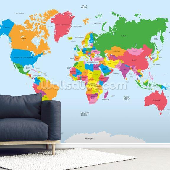 Political Map of the World Wallpaper Mural   Wallsauce FI