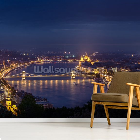Budapest at Night mural wallpaper room setting