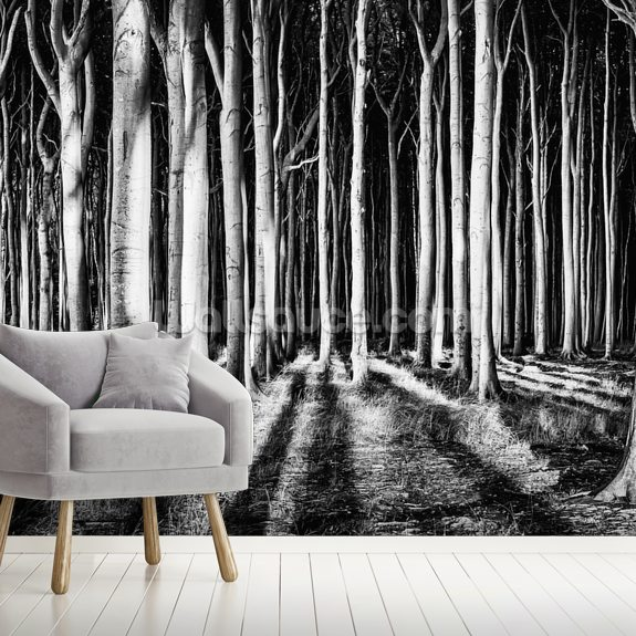 Ghost Forest wall mural room setting