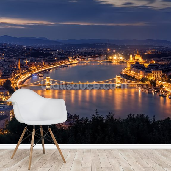 Panorama of Budapest mural wallpaper room setting