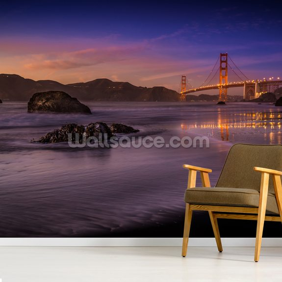 Golden Gate Bridge Fading Daylight wallpaper mural room setting