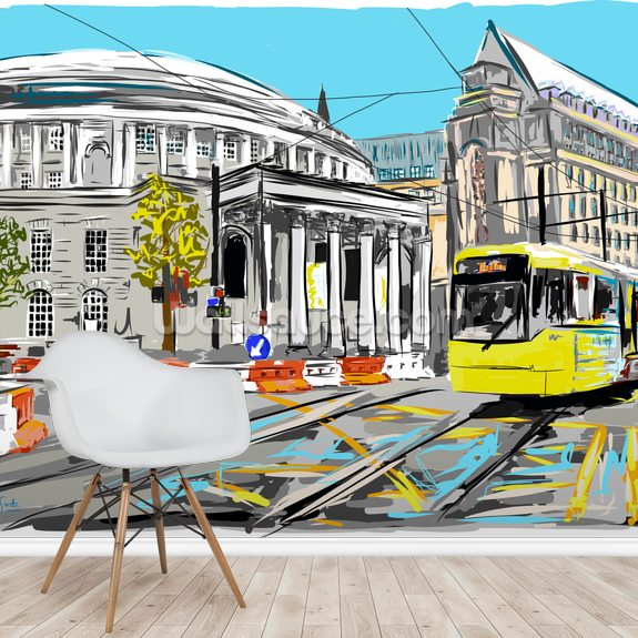 Central Library with Tram wallpaper mural room setting