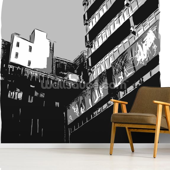 Northern Noir wall mural room setting