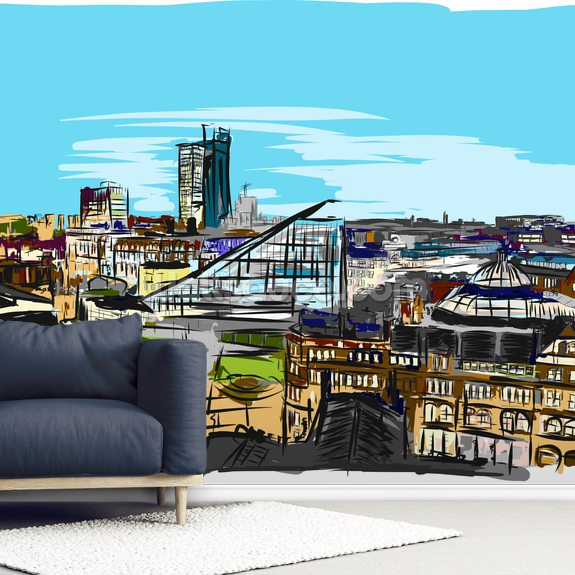 Urbis Skyline mural wallpaper room setting