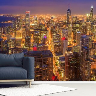 Chicago Skyline at Night Wallpaper Wall Murals