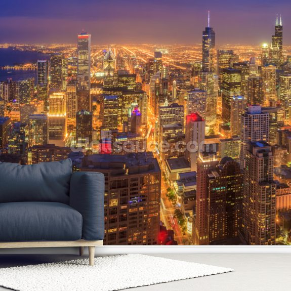Chicago Skyline At Night Wall Mural Room Setting