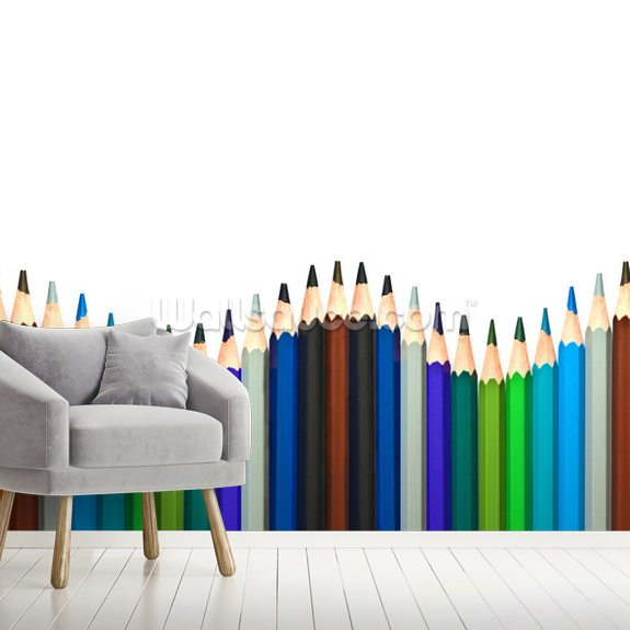 Coloured Pencils wall mural room setting