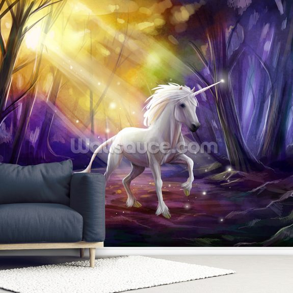 Unicorn Path wallpaper mural room setting