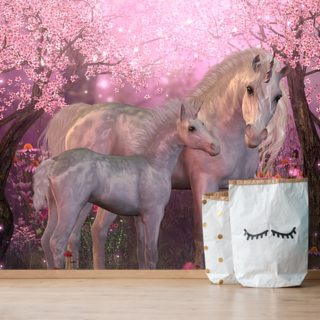 Unicorn Mare and Foal Wallpaper Wall Murals