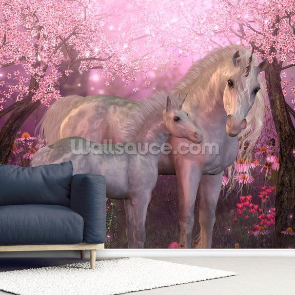 Unicorn Mare and Foal mural wallpaper room setting